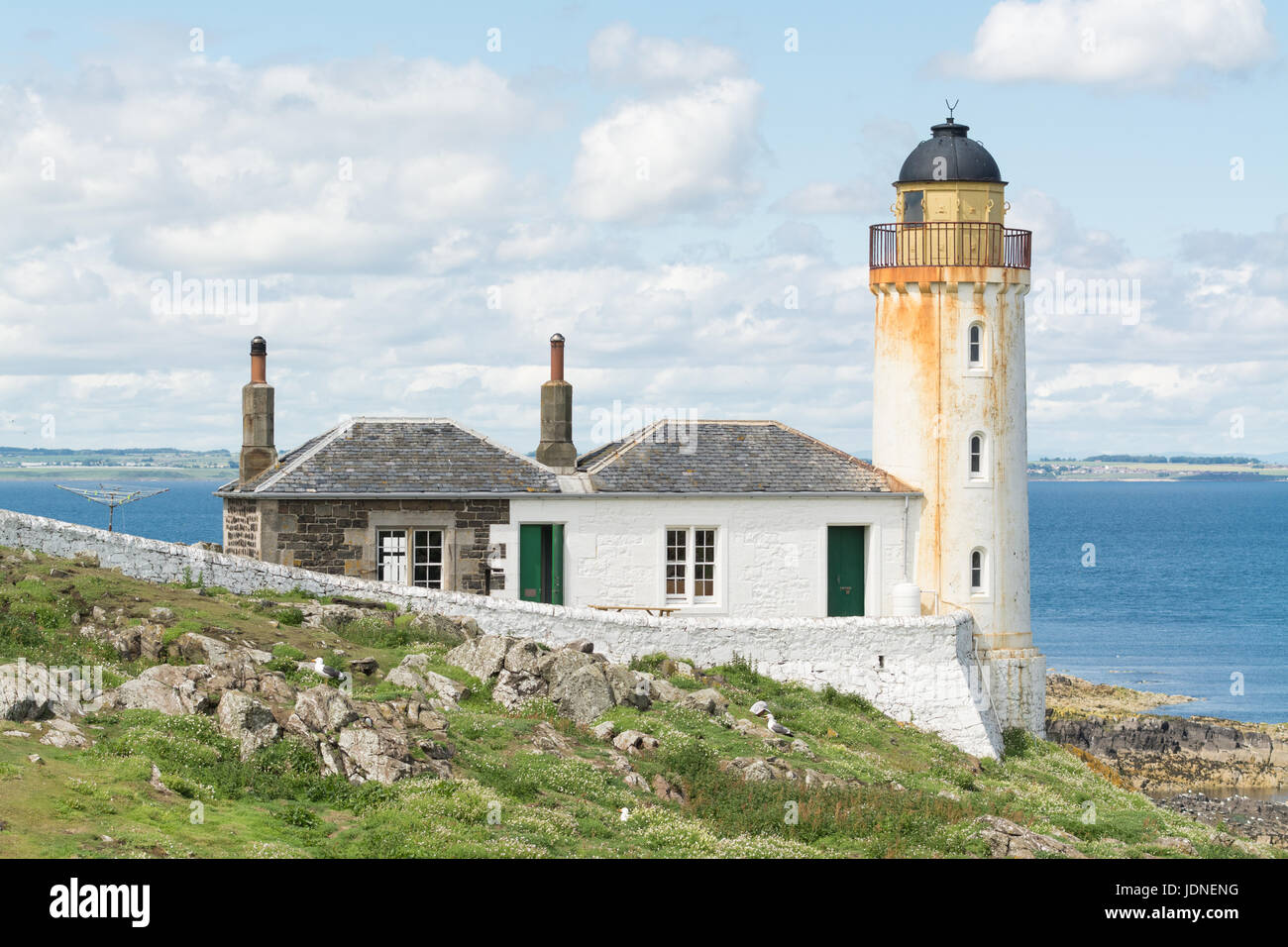 Isle of May, Anstruther, Scotland - disused 'low light' lighthouse, now used as a bird observatory and field - Stock Image