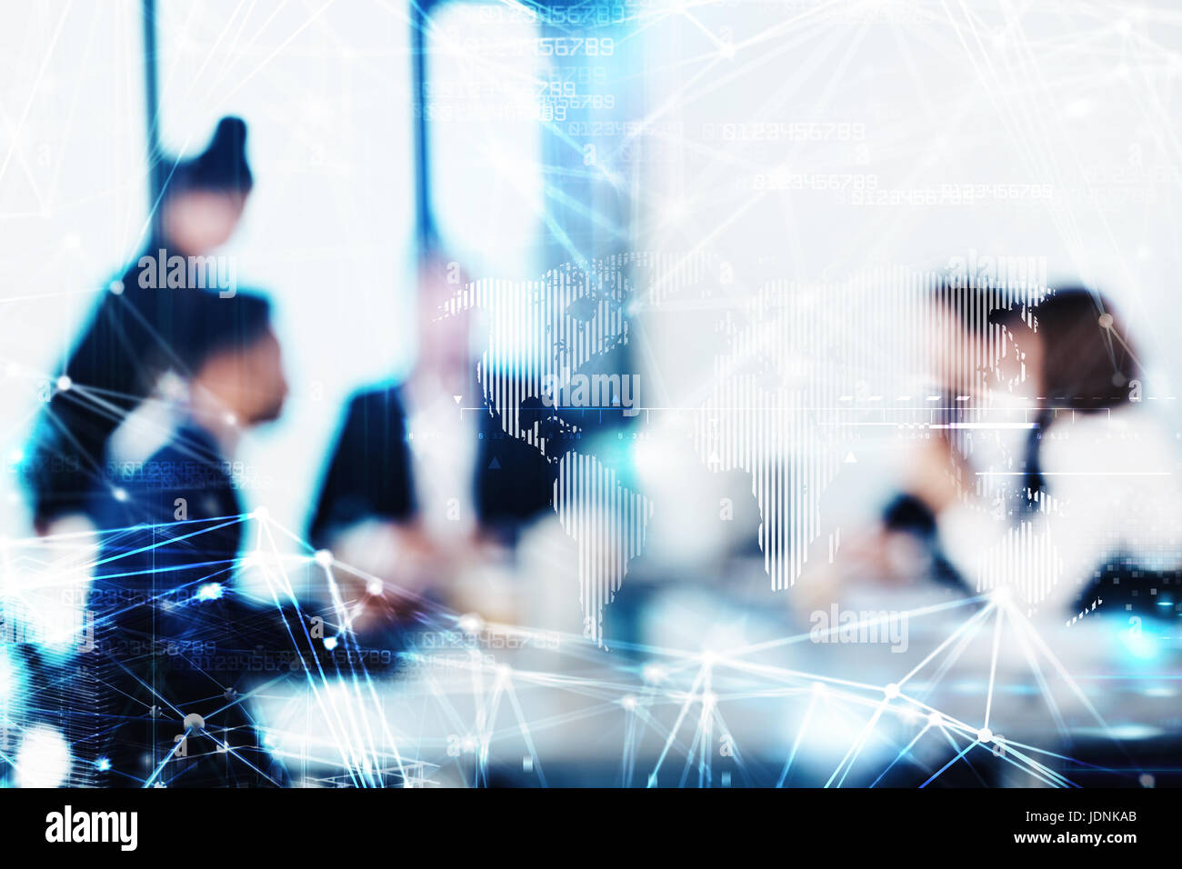 Blurred background with futuristic effect of business people - Stock Image