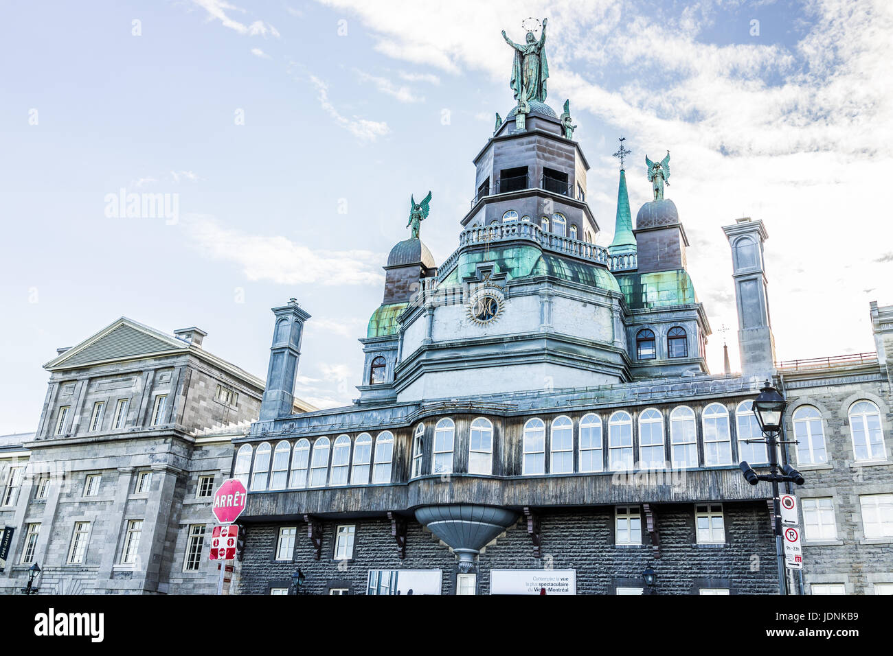 Montreal, Canada - May 27, 2017: Front exterior view of Chapelle Notre Dame de Bon secours in Quebec region during - Stock Image