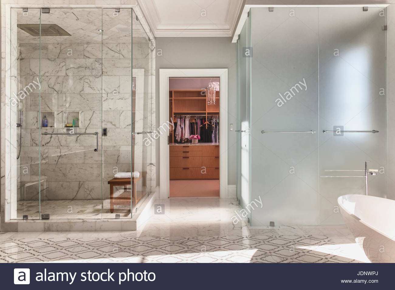 Large luxury bathroom with steam shower and frosted glass water ...
