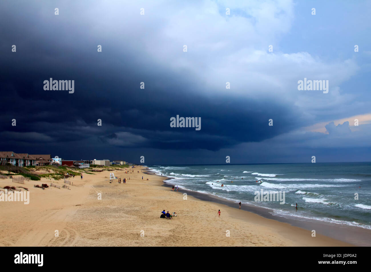 Thunderstorm approaching nags head beach outer banks north carolina - Stock Image
