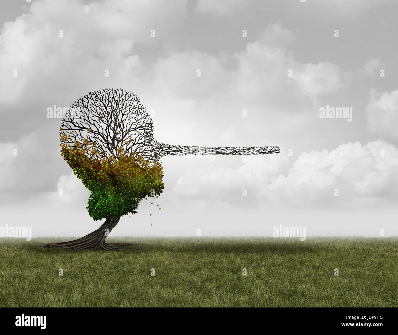 Climate change denier concept as a dying sick tree shaped as a human head with a long nose as a surreal environmental Stock Photo