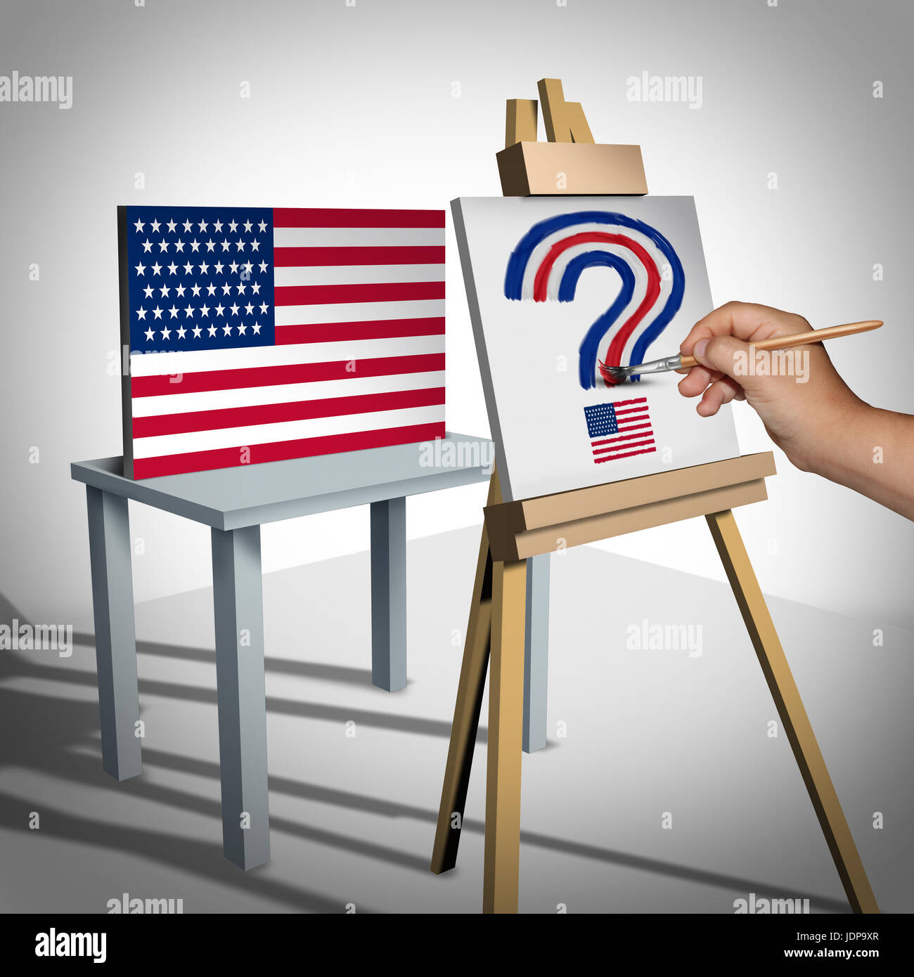 United States questions or national arts funding and white house political issues or Washington legislation uncertainty - Stock Image