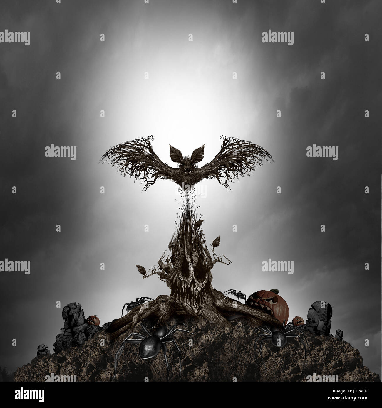 Scary tree monster concept as a creepy dark night horror scene with a living mutant plant shaped as an evil skull - Stock Image