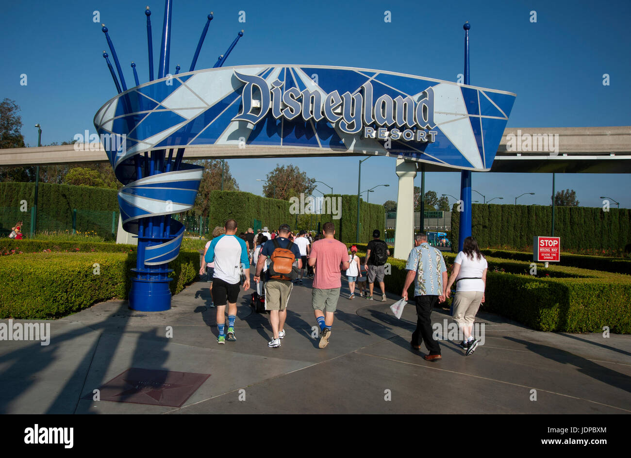 Visitors arriving at entrance of Disneyland Resort in Anaheim, CA Stock Photo