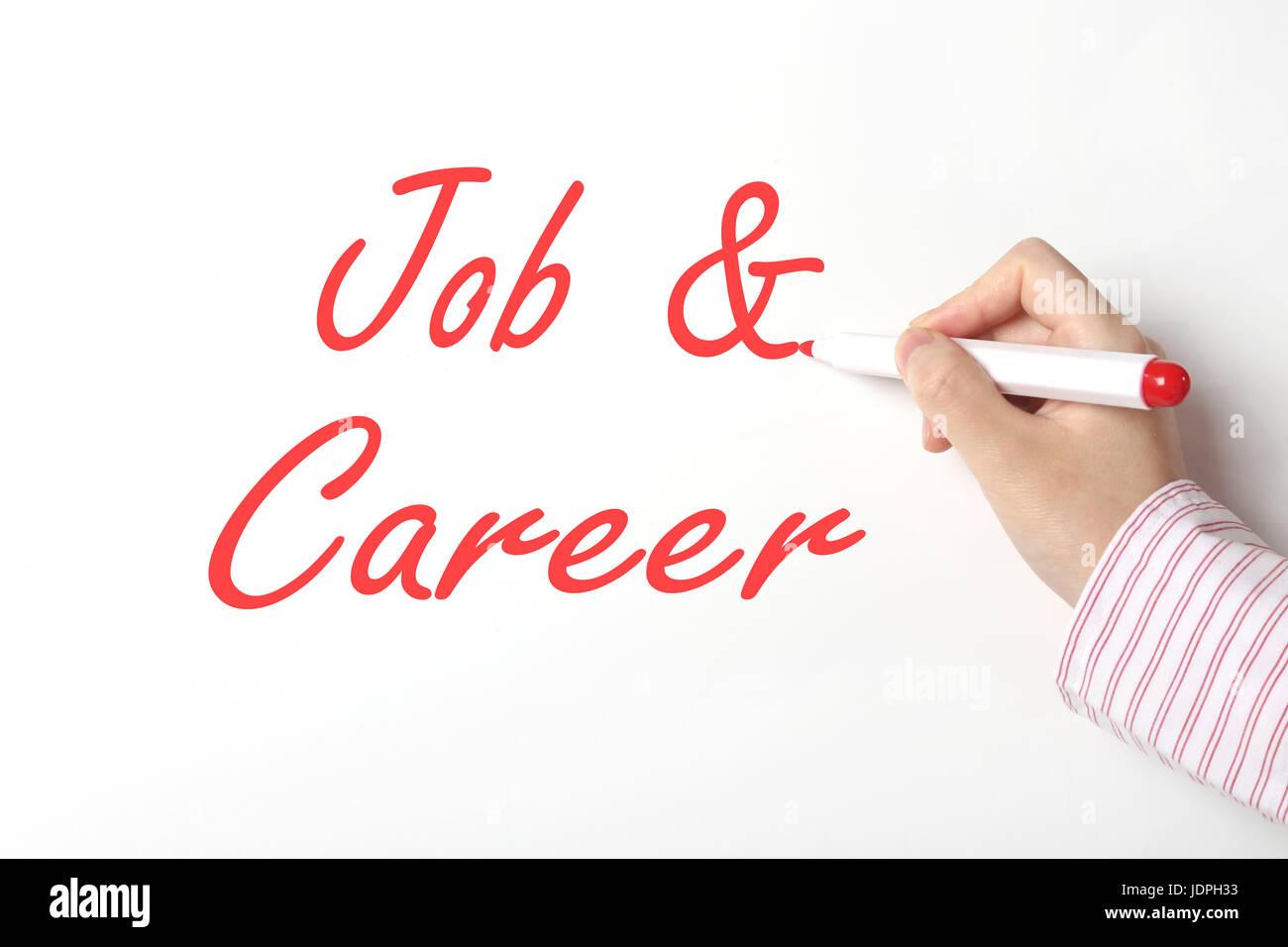 Business woman writing job and career word on whiteboard - Stock Image