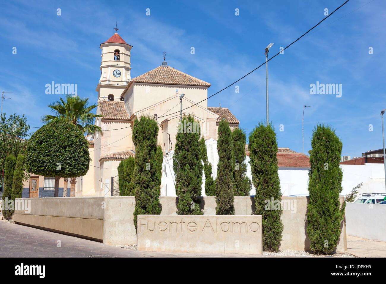 Church in historic town Fuente Alamo de Murcia, region of Murcia, Spain - Stock Image