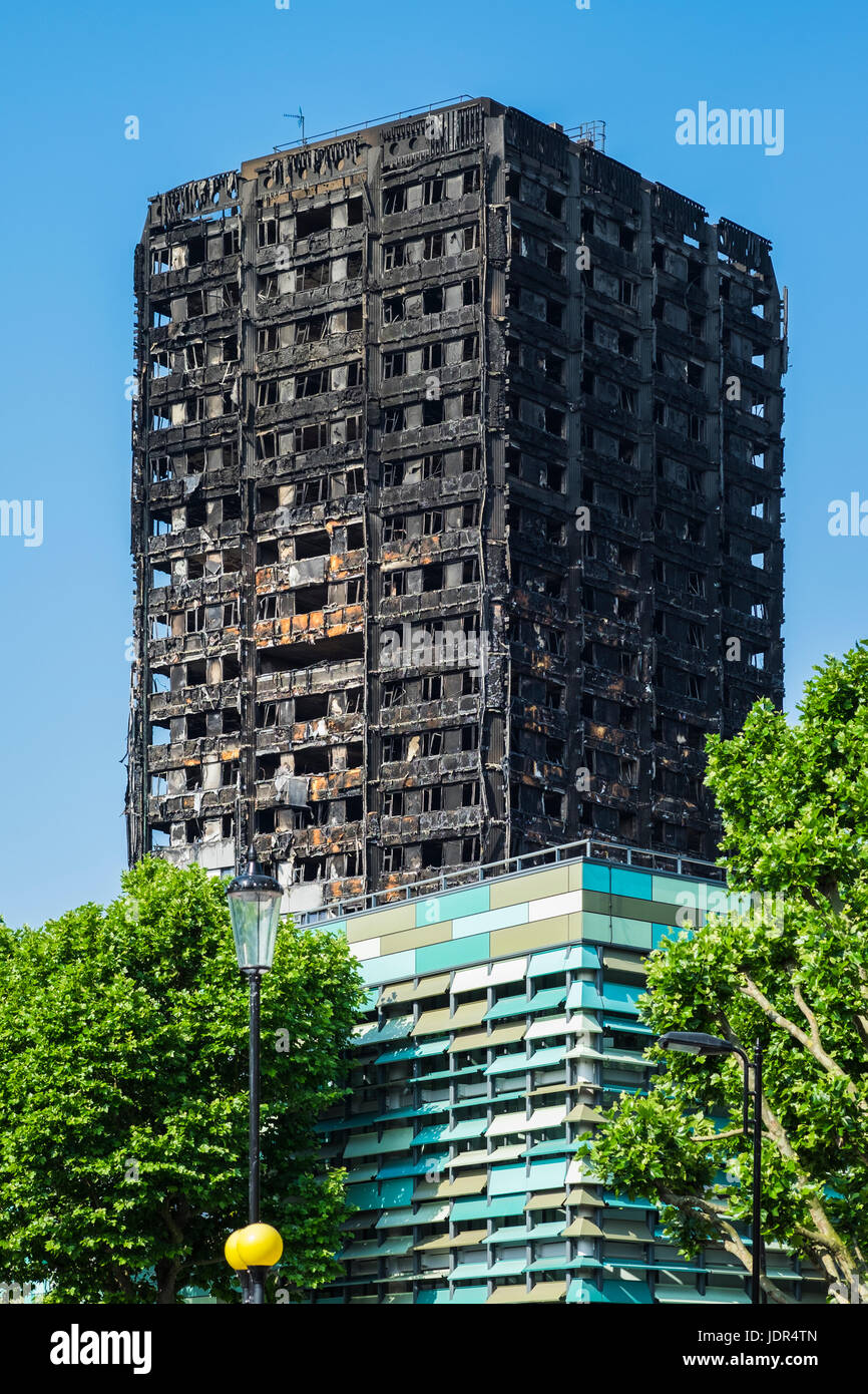 Grenfell Tower block fire, North Kensington, London, England, U.K. Stock Photo