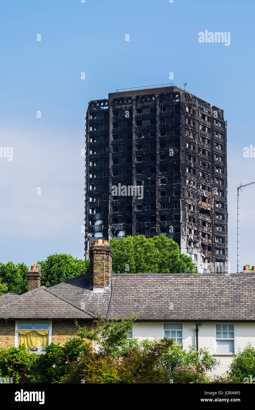 Grenfell Tower block fire, North Kensington, London, England, U.K. - Stock Image