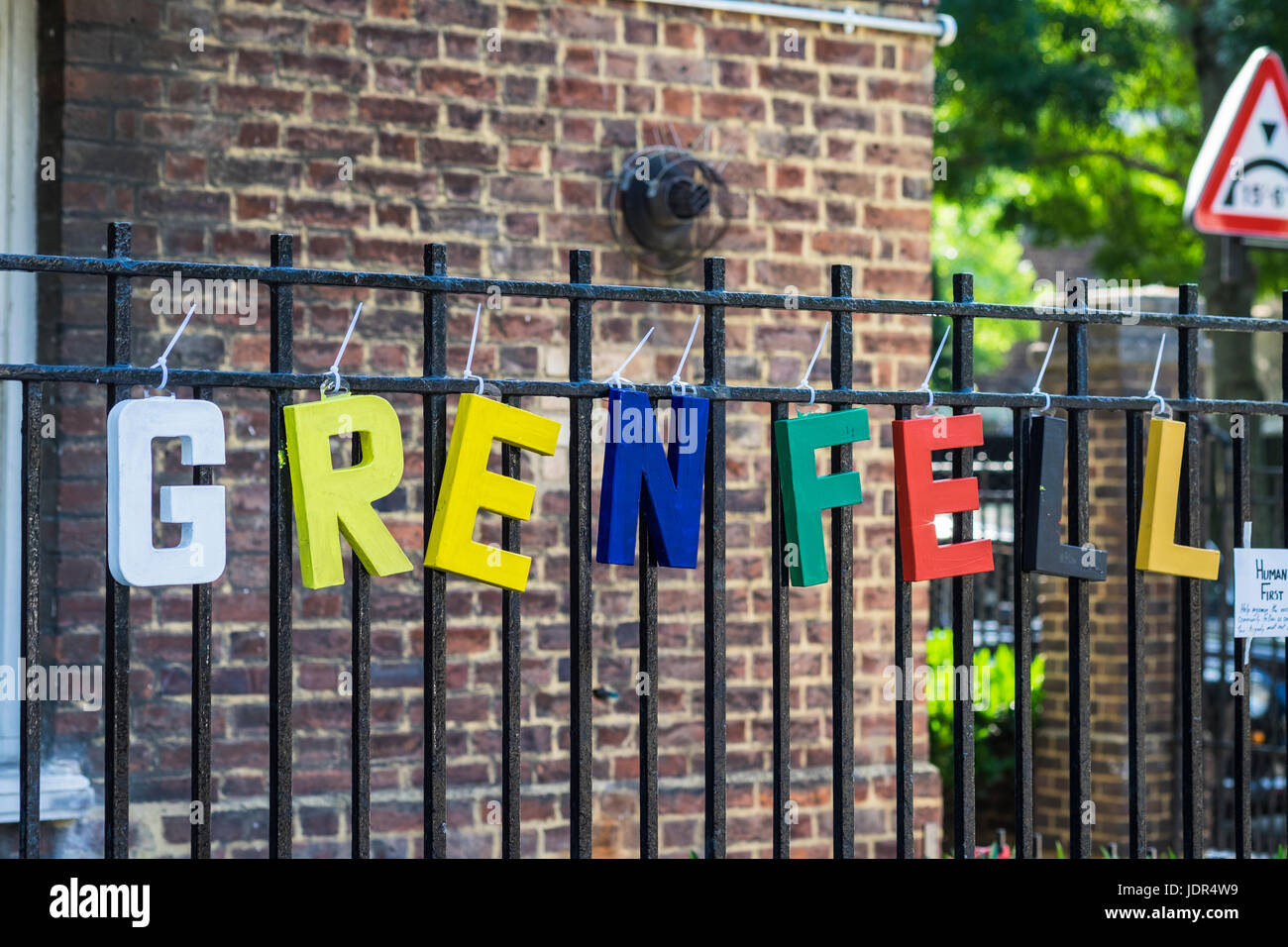 Grenfell Tower block fire, North Kensington, London, England, U.K. - Stock Image