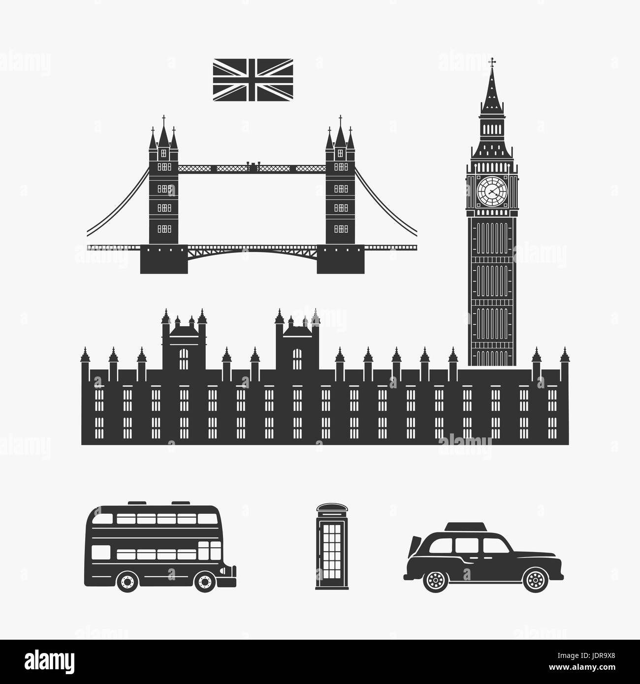 England London Vector Elements - Stock Image
