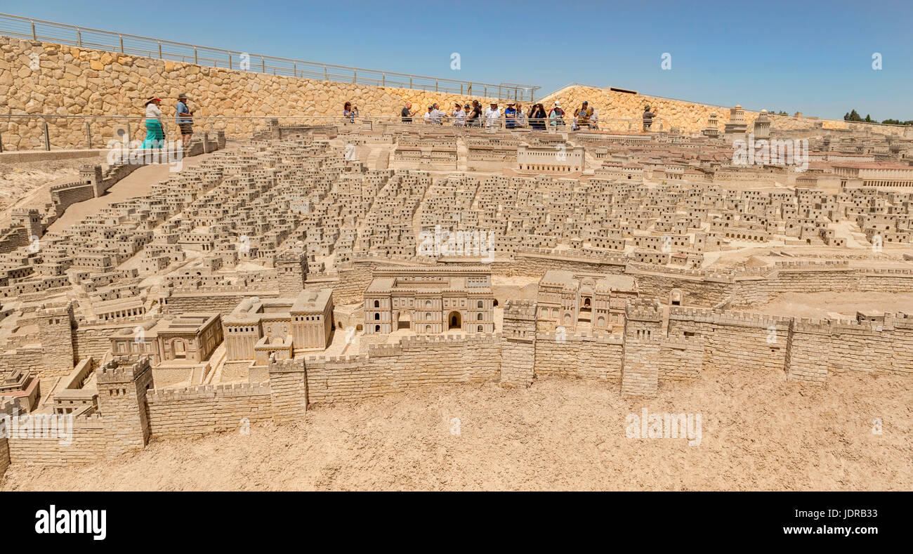 Outdoor Model of Jerusalem in the second Temple Period, showing the topography and architecture of ancient Jerusalem, Stock Photo