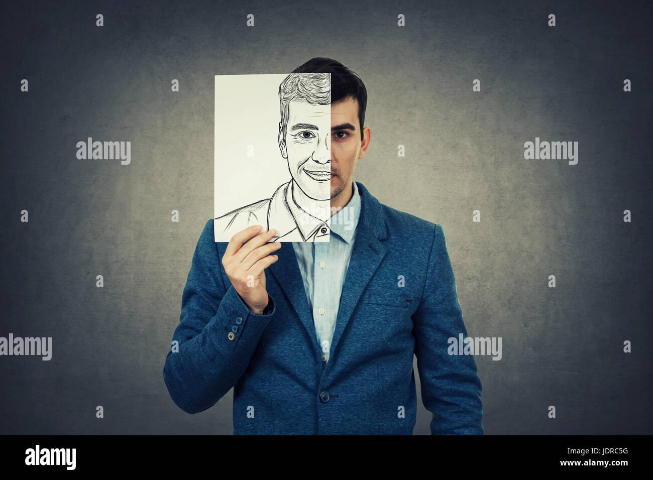 Portrait Of A Sad Businessman Hiding Half His Face Using A