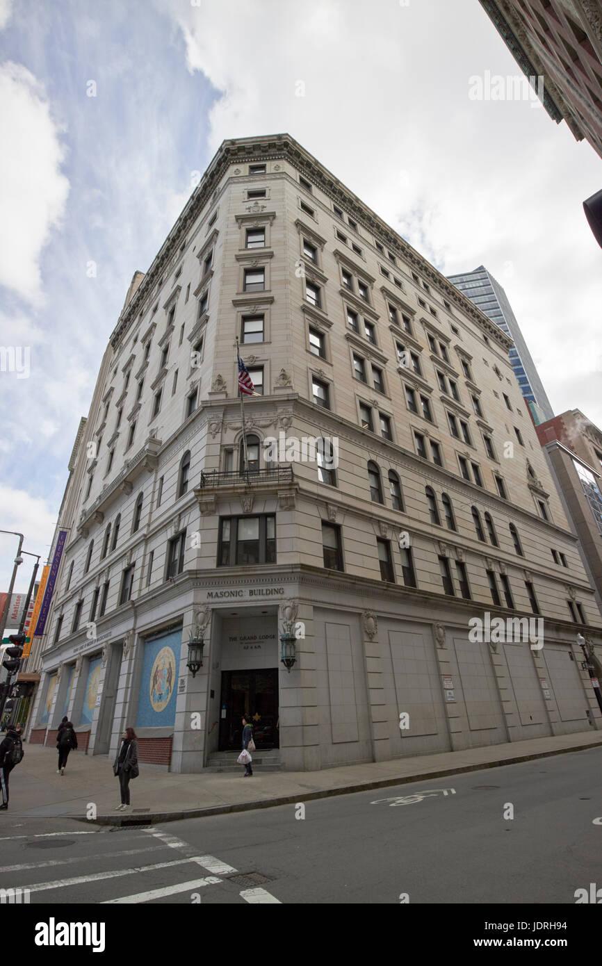 grand masonic lodge of massachusetts building Boston USA - Stock Image