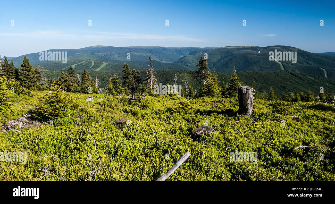 panorama of spring Jeseniky mountains with Praded, Vysoka hole, Bridlicna hora, Dlouhe Strane and other hills from Stock Photo