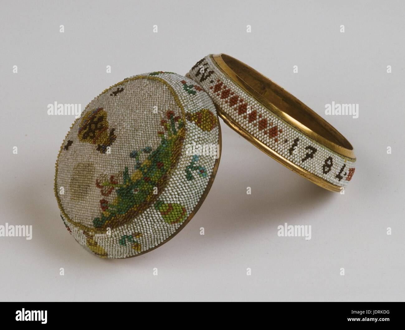 Watch case made by women of Saint Cyr.  Jean-François Pilâtre de Rozier and marquis d'Arlandes' first aerial voyage Stock Photo