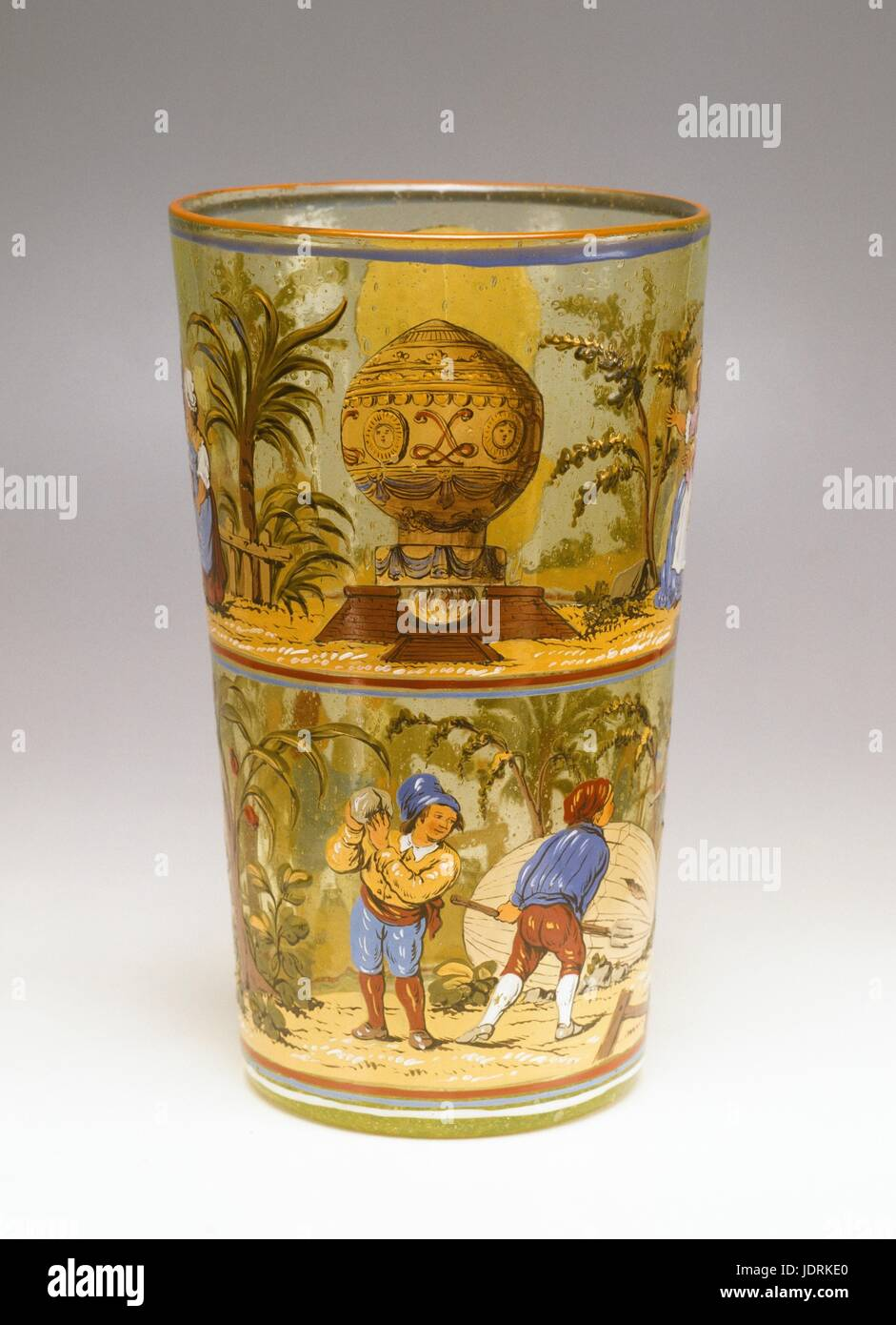 Enamel vase from Germany  Vase decorated with three designs of the first aerostatic experiments in 1783  ­ The first Stock Photo