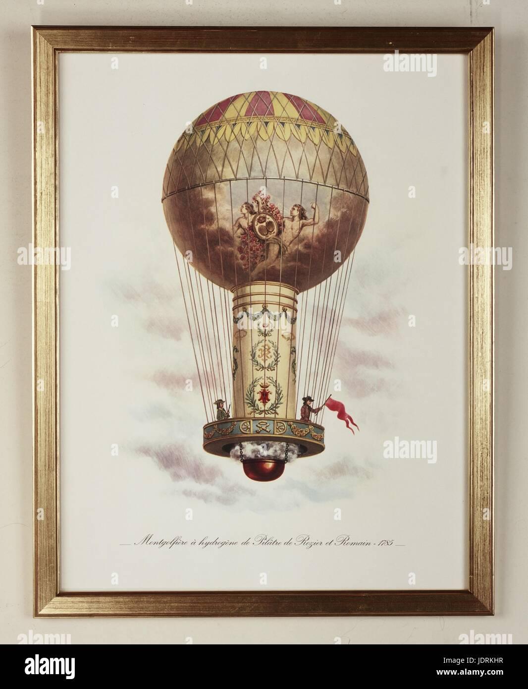 """""""La Tour de Calais"""" : Pilâtre de Rozier and Romain's Hydrogen balloon 1785  Framed lithograph  (44 x 34 cm)  Muller Stock Photo"""