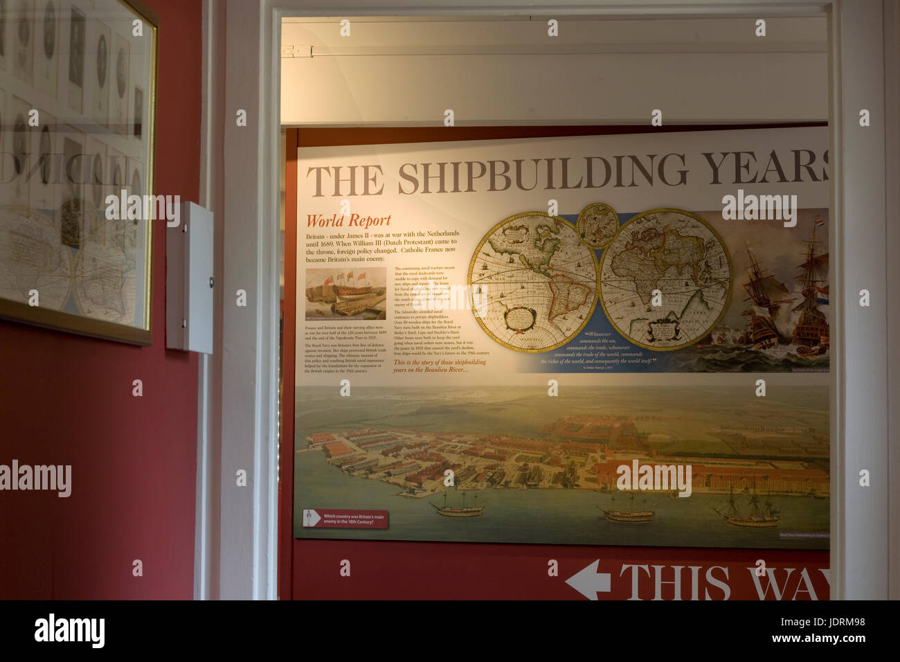 Explanation of the Shipbuilding years in the museum at Buckler's Hard - Stock Image