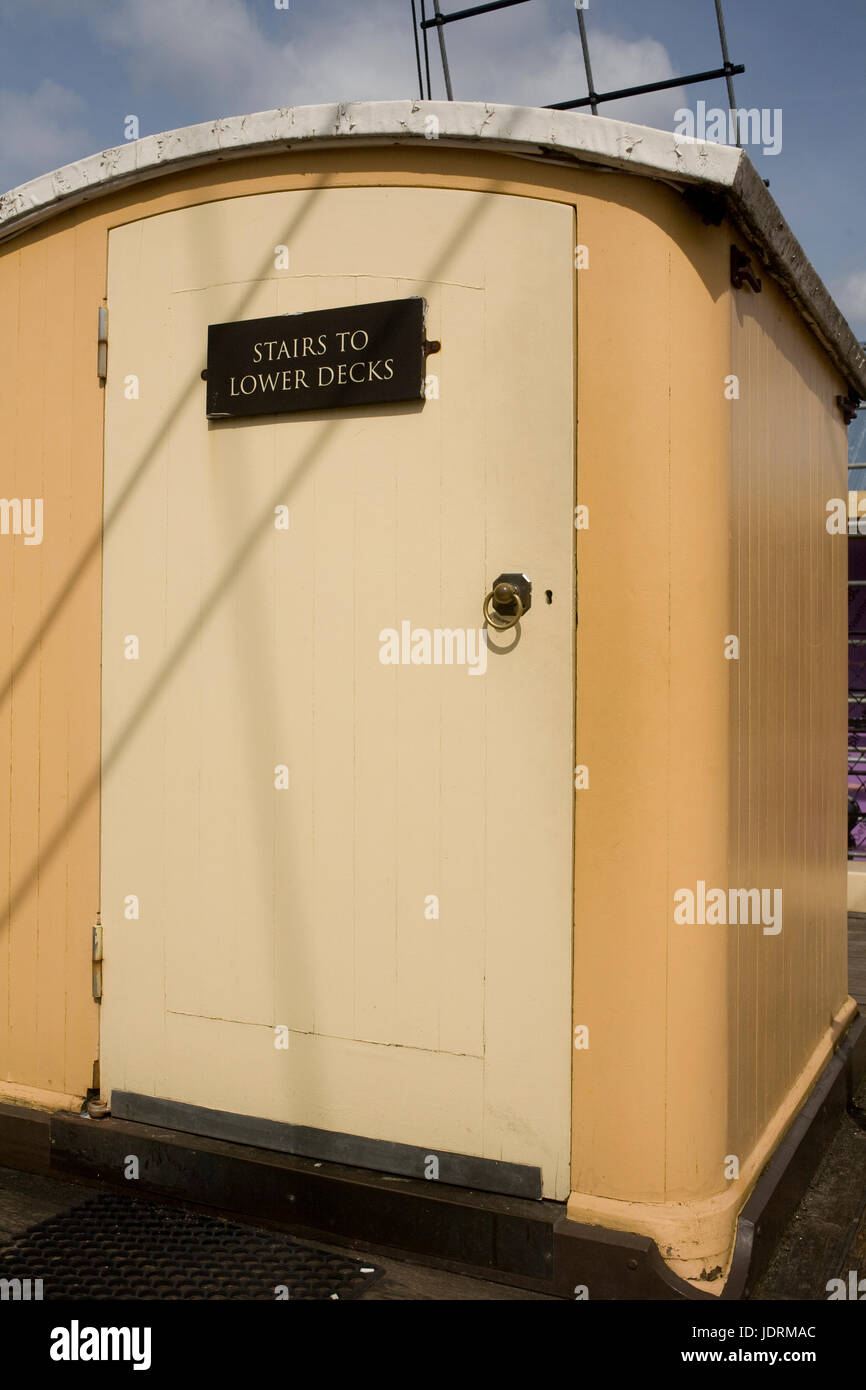 Door giving access to lower decks on SS Great Britain - Stock Image