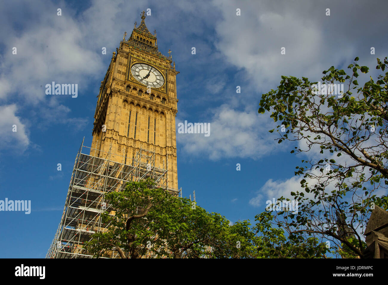 Scaffolding has been erected around the Elizabeth Tower, home to the bell Big Ben at the Palace of Westminster. - Stock Image