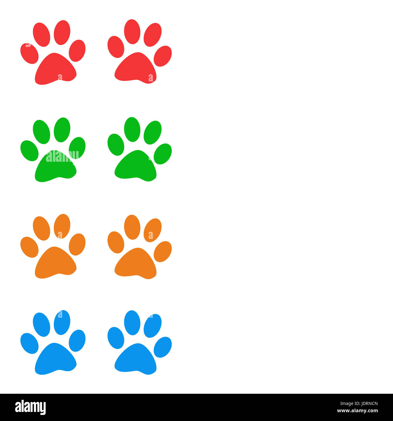 Colorful animal paw prints on white background with copy space. Raster graphic image Stock Photo