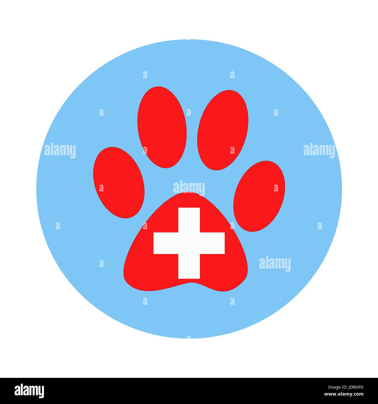Veterinary sign paw print animal cross - Stock Image