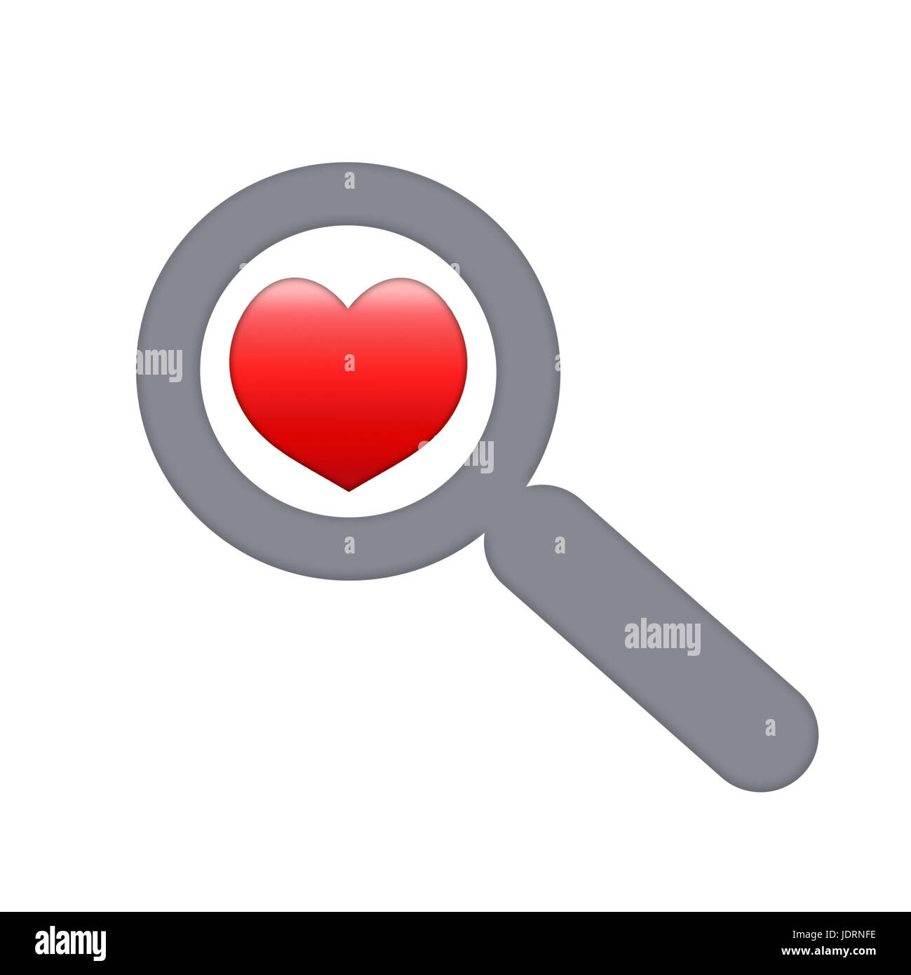 Red human heart through a magnifying glass - Stock Image