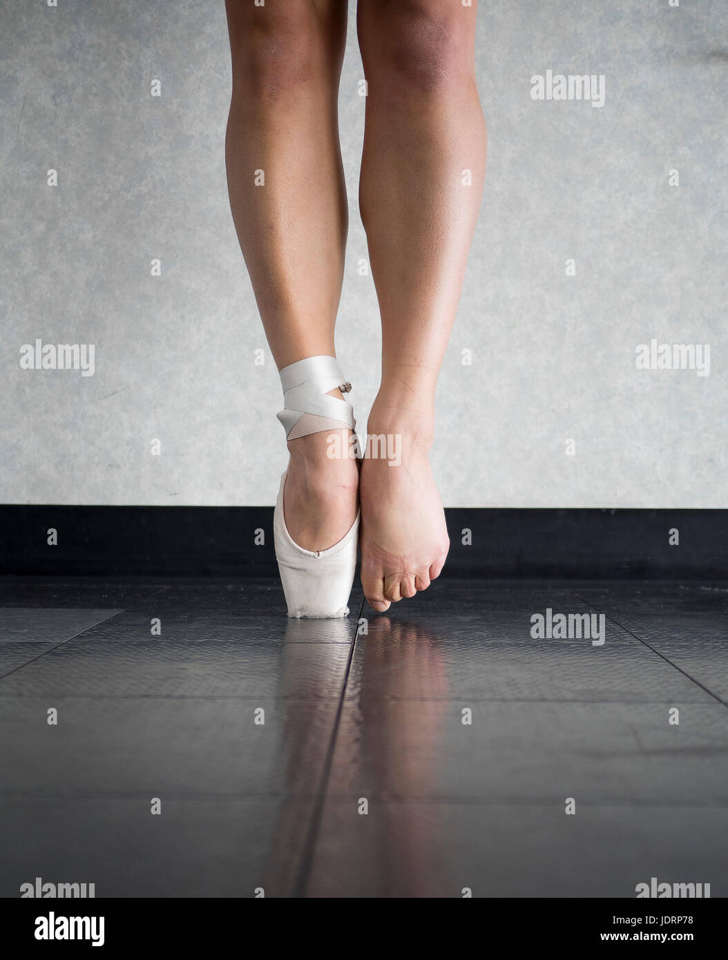 A ballerina's feet- behind the scenes - Stock Image