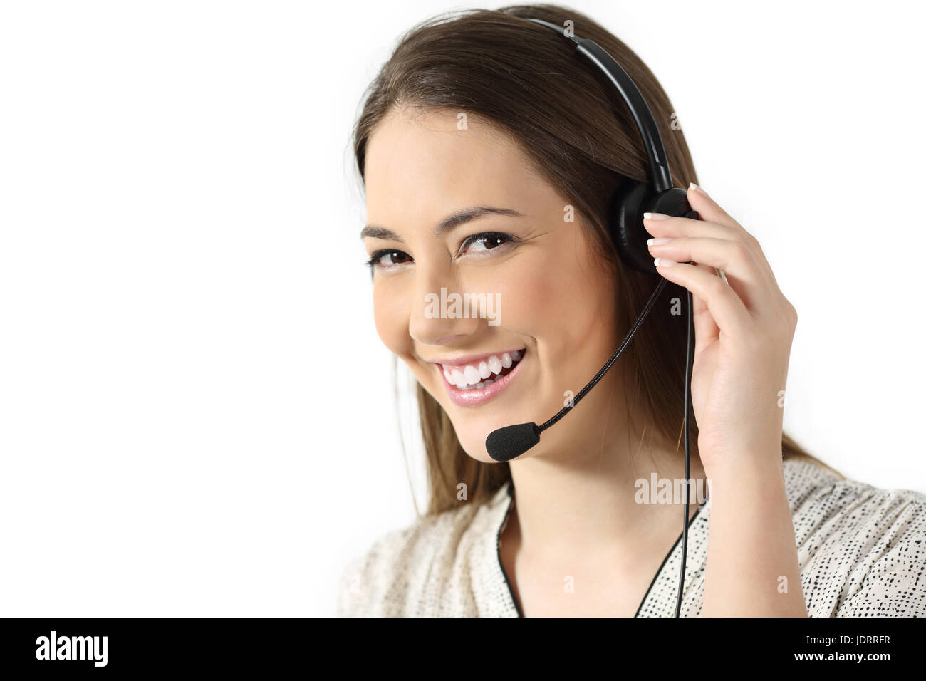 Portrait of a telemarketing operator looking at you isolated on a white background Stock Photo