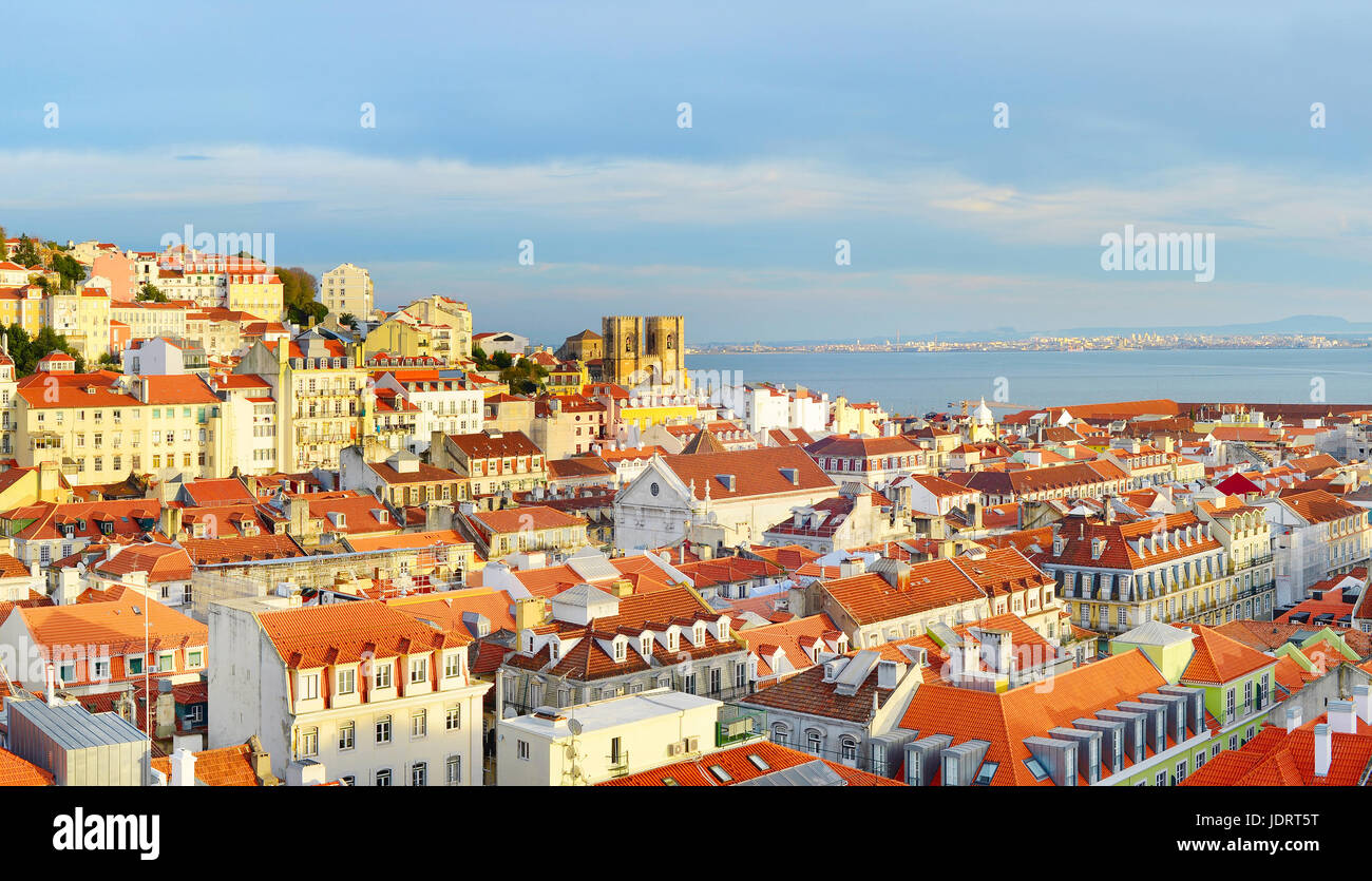 View of Lisbon Old Tow with Lisbon Cathedral  at sunset. Portugal Stock Photo