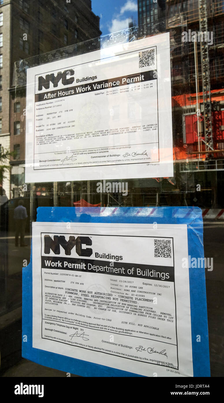 nyc buildings construction work permit and after hours work variance permits New York City USA - Stock Image