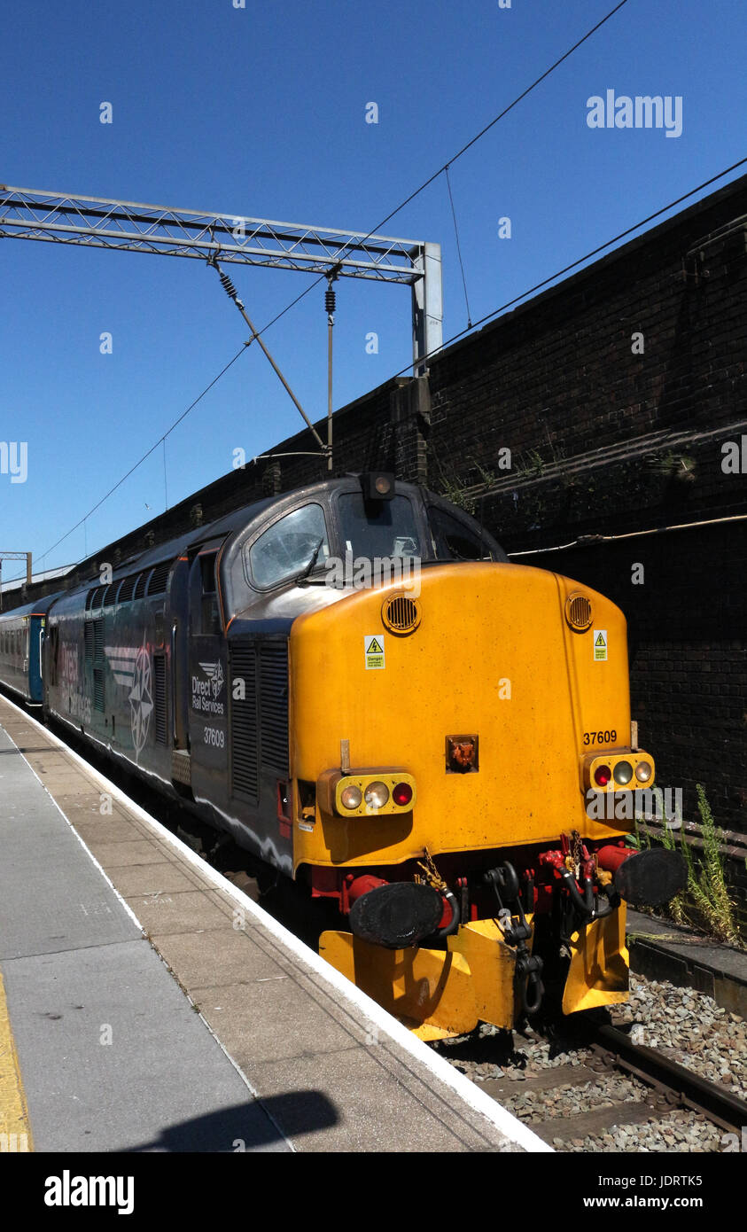 English Electric type 3 diesel electric locomotive 37 609 in Direct Rail Services livery with a special train in - Stock Image