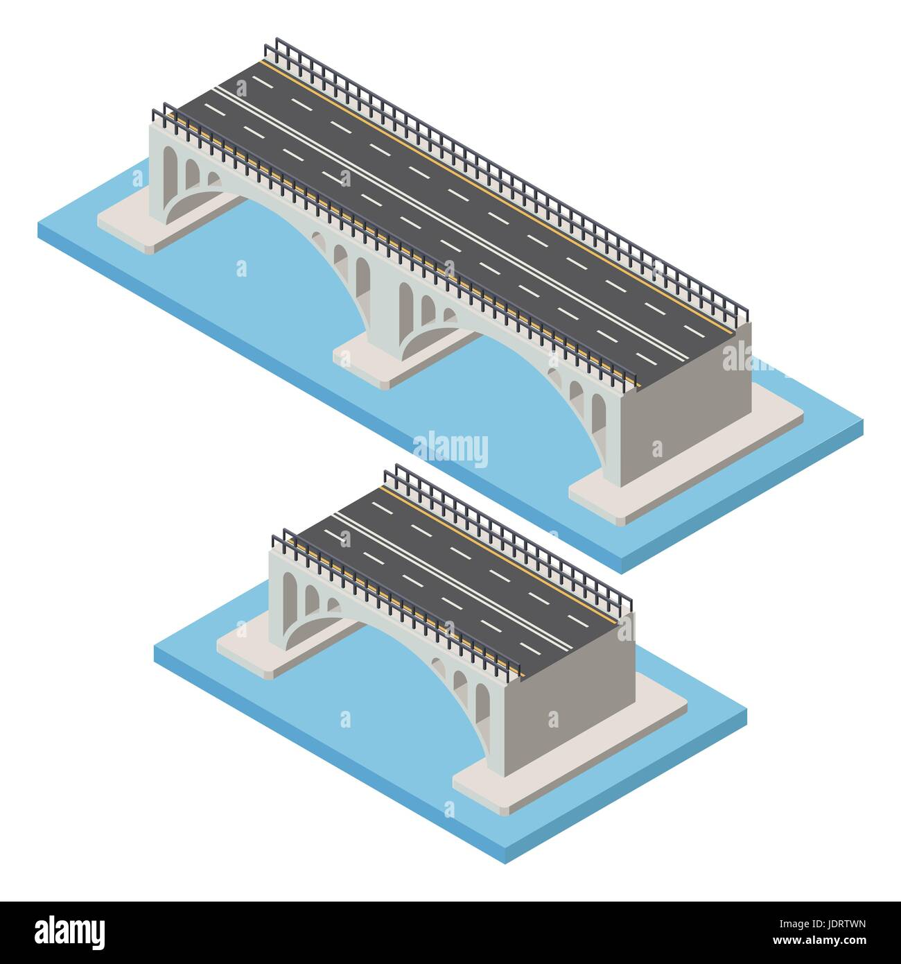 Vector isometric bridge. Transport  infrastructure 3d element representing low poly structure for city map creation. Stock Vector