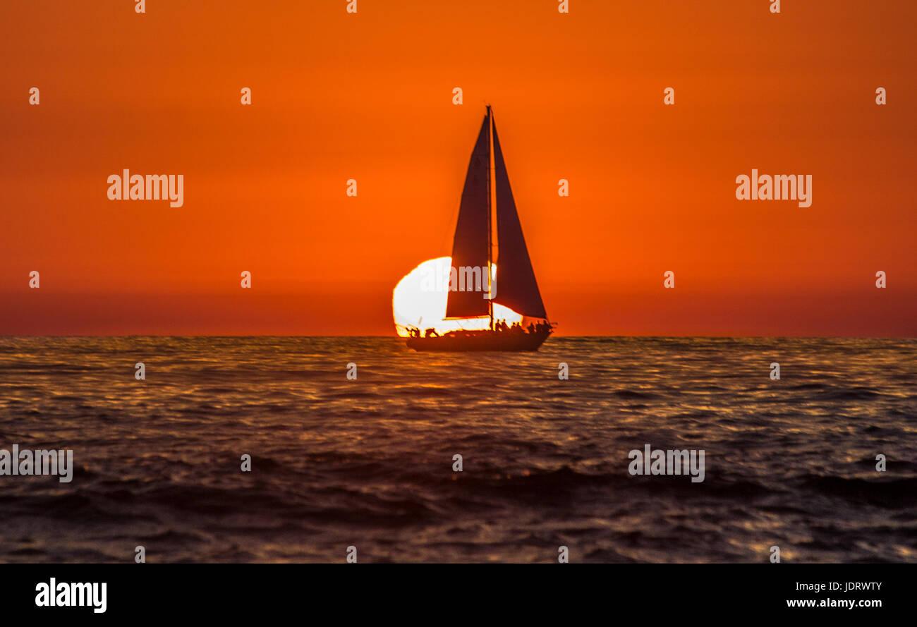 Sailing home to Dana Point - Stock Image