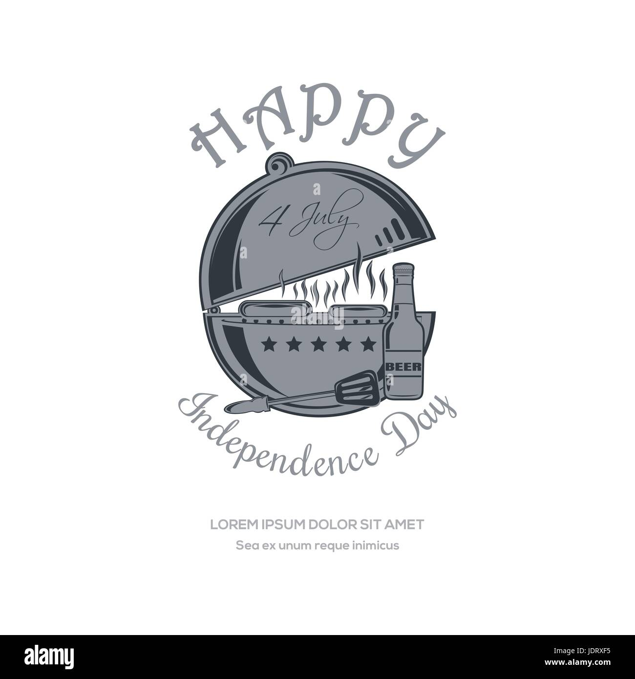 Independence Day design. 4 July with barbecue - Stock Vector