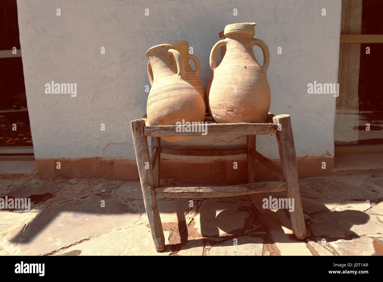 Terracotta Pots , Moroccan Scene , Rustic Bohemian Simple Landscape , Mexican Interior Design , Minimalist - Stock Image