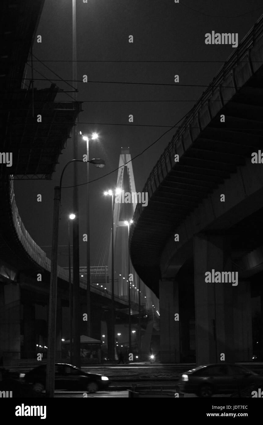 Under the Neva bridge - Stock Image