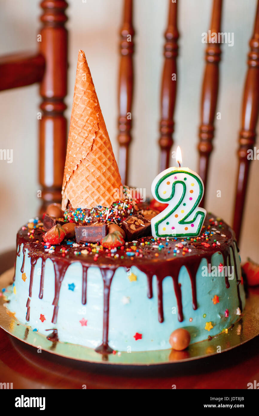 Remarkable Cake Birthday Cake With Candles For 2Nd Birthday Stock Photo Personalised Birthday Cards Veneteletsinfo