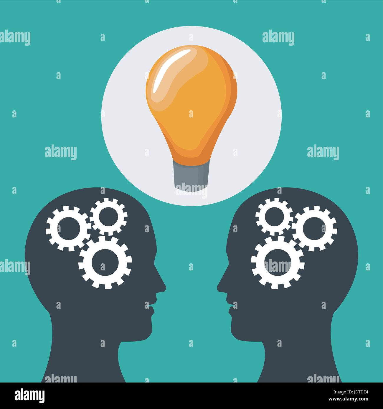 color background two heads of people with mechanisms and solution icon - Stock Image