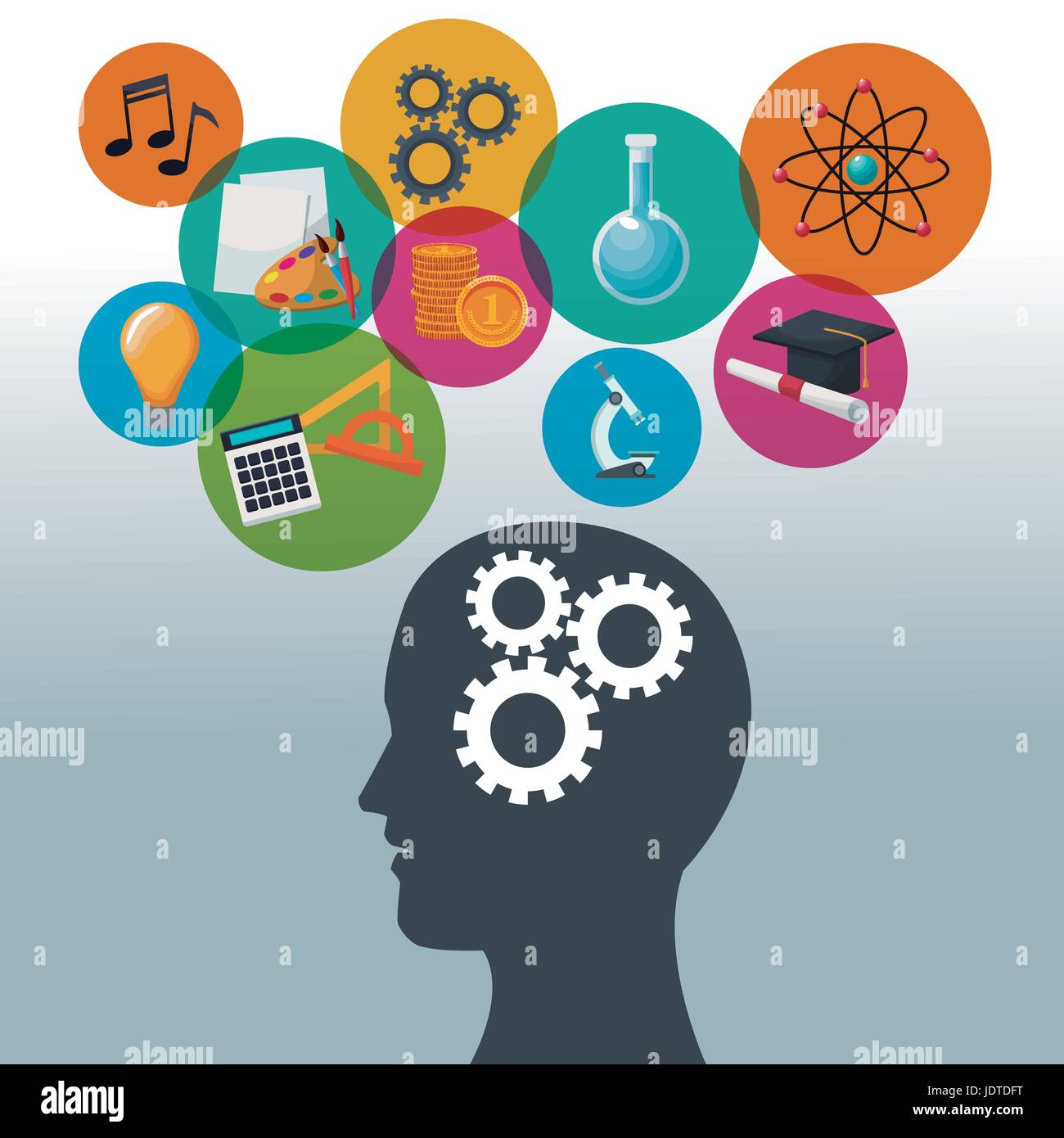 color background human head with mechanisms and bubbles icon knowledge - Stock Image