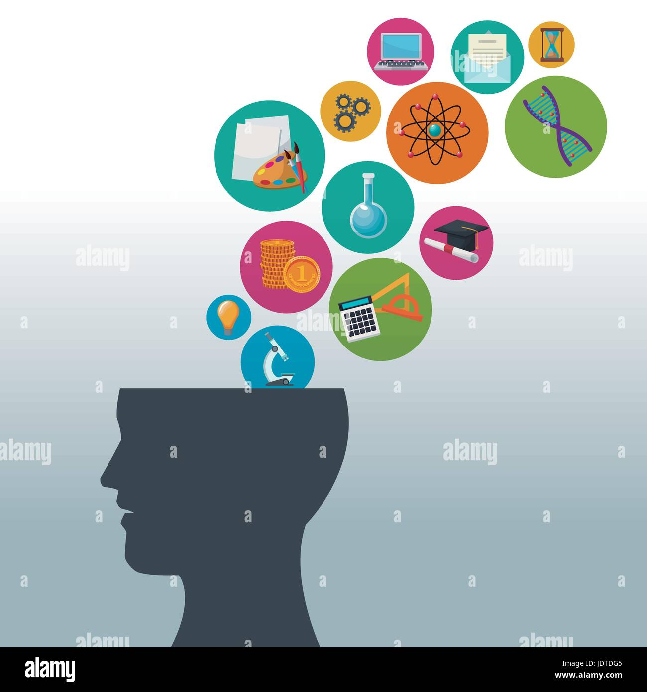 color background human head with bubbles icons knowledge - Stock Image