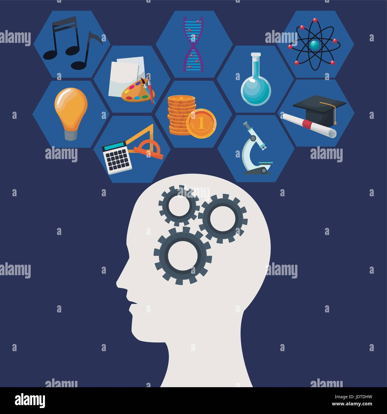 color background human head with mechanisms and geometric abstract figures icon knowledge - Stock Image