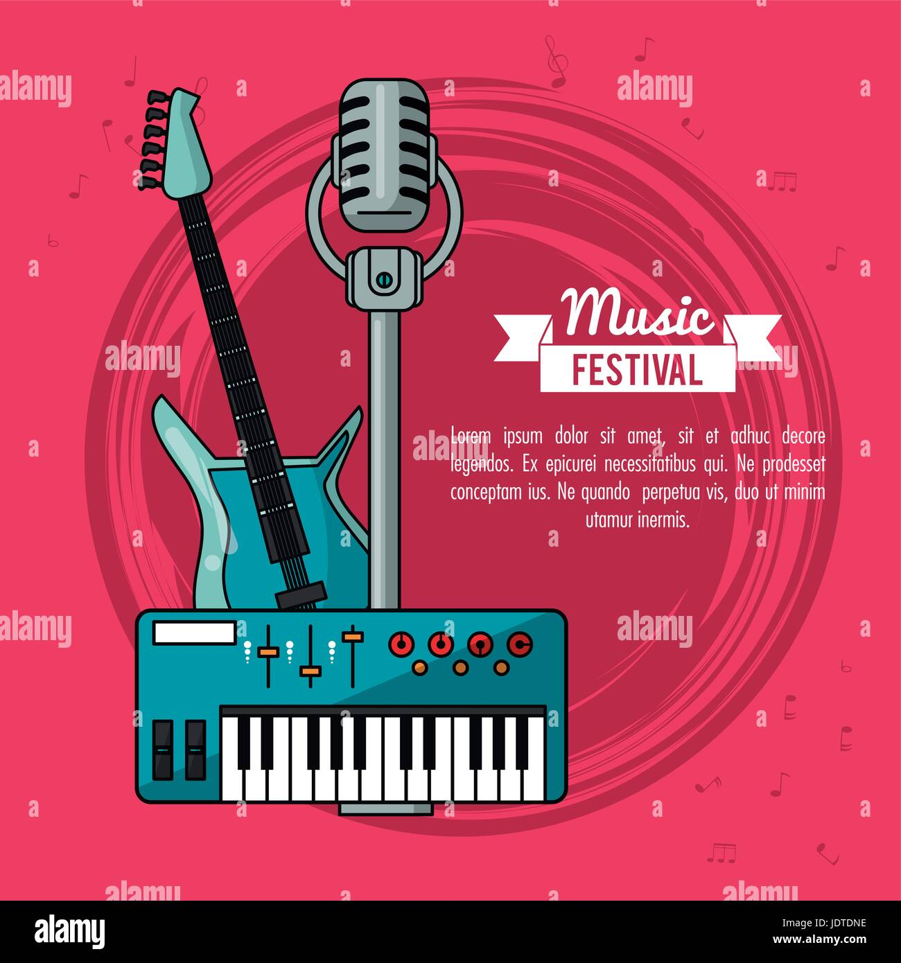 poster music festival in magenta background with electric guitar keyboard and microphone - Stock Vector