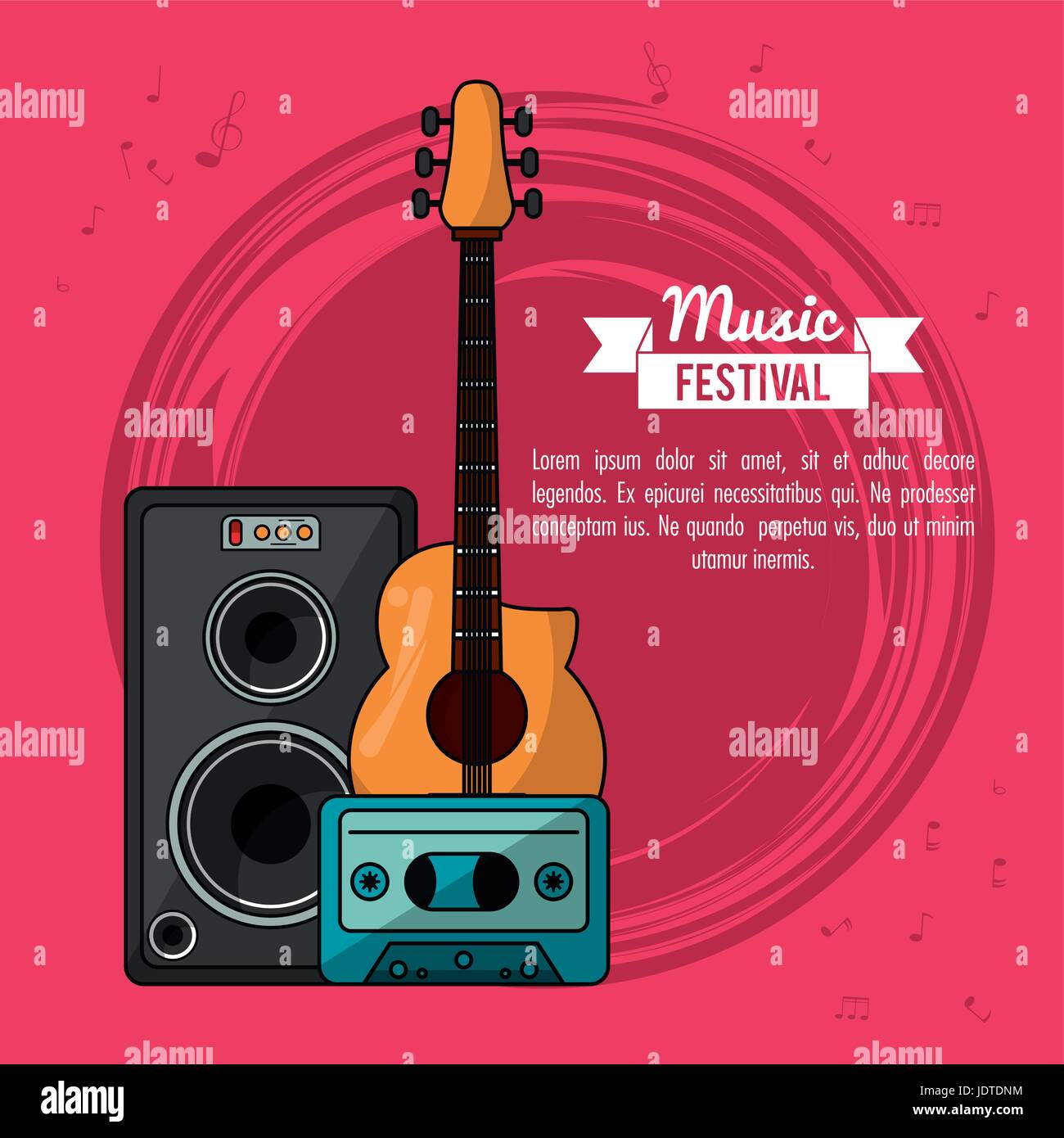 poster music festival in magenta background with guitar and speaker box and tape cassette - Stock Image