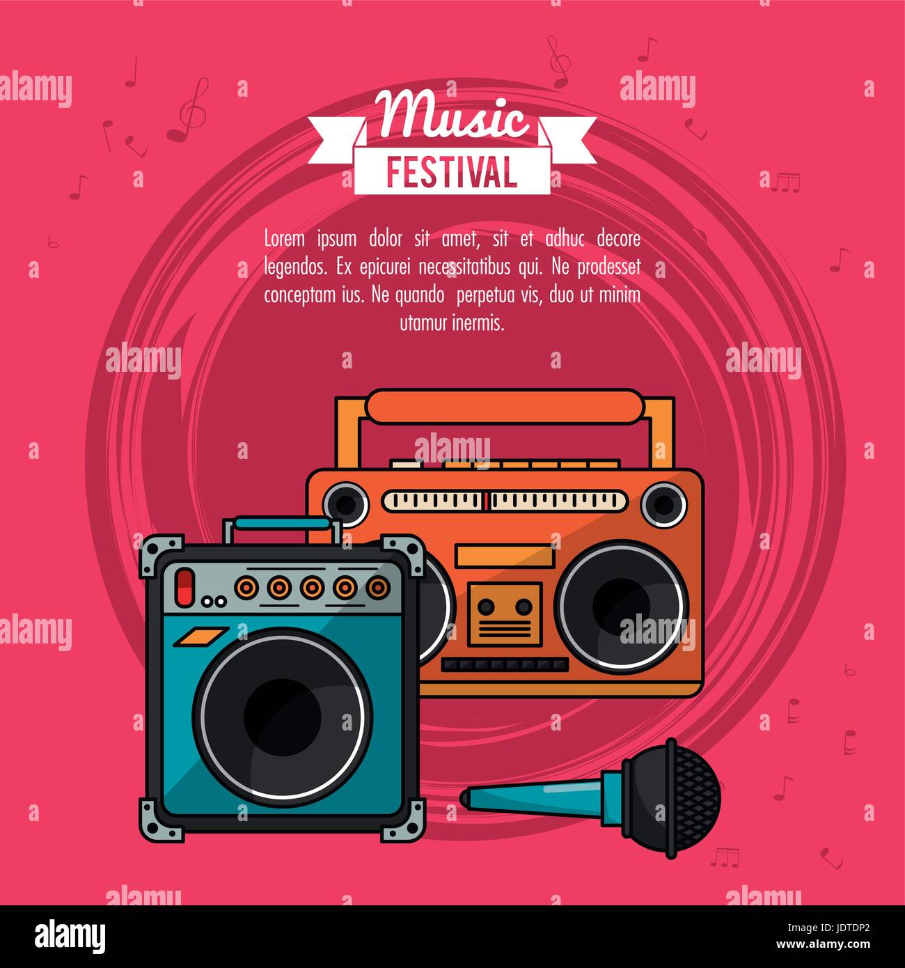 poster music festival in magenta background with cassette tape player and speaker box and microphone - Stock Image