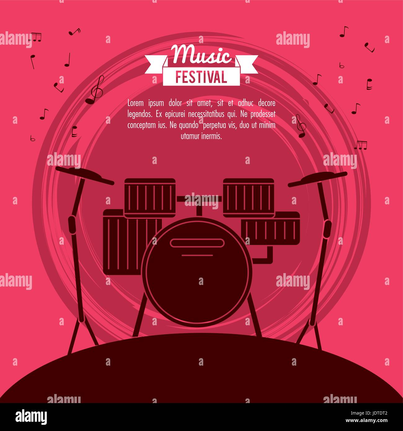poster music festival in magenta background with battery instrument - Stock Vector