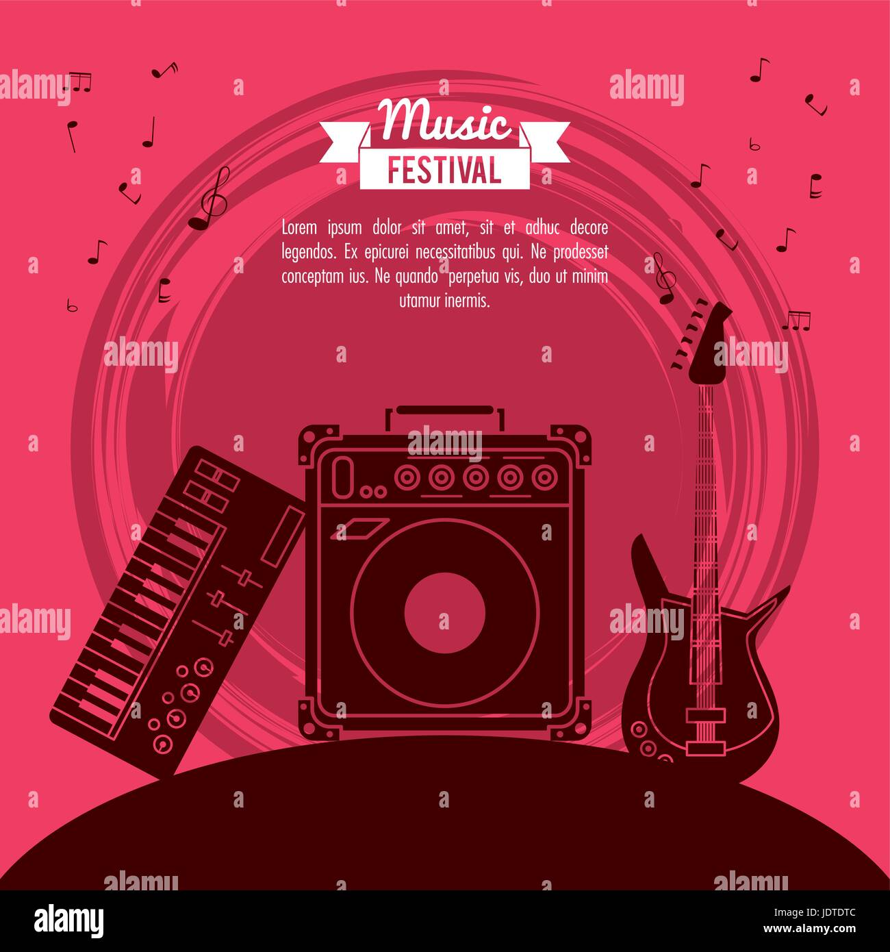 poster music festival in magenta background with electric guitar and speaker box and electronic piano - Stock Image