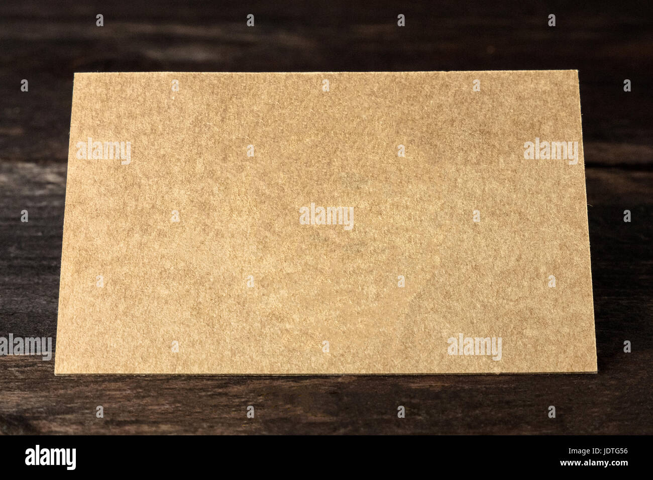Brown Kraft business card on rustic background with copyspace Stock ...