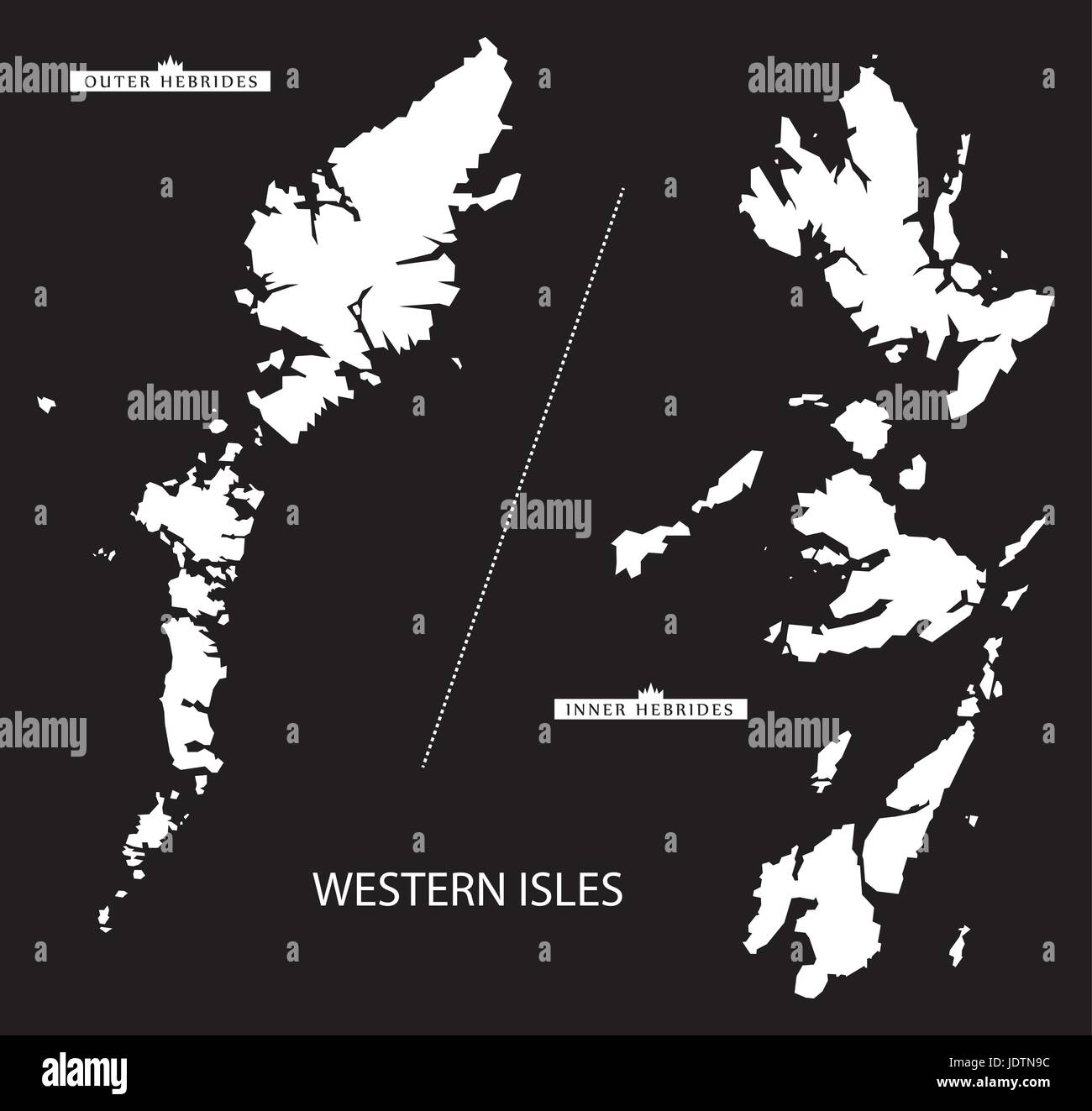 Western Isles of Scotland map black inverted silhouette illustration - Stock Vector